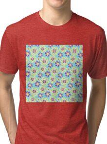Abstract purple yellow retro flowers pattern  Tri-blend T-Shirt
