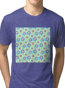 Abstract purple yellow retro flowers pattern  Tri-blend T-Shirt