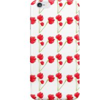 Cute red green abstract poppy floral pattern iPhone Case/Skin