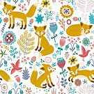 Cute Colorful Retro Foxes & Flowers Seamless Pattern by artonwear