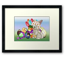 Bunny with lots of chocolate eggs Framed Print