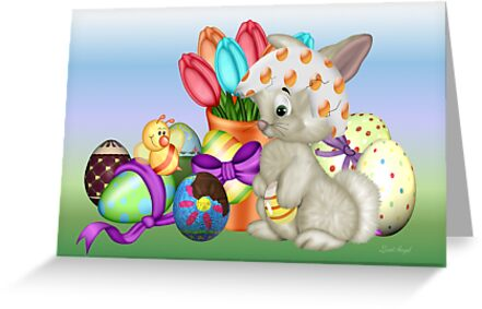 Bunny with lots of chocolate eggs by LoneAngel