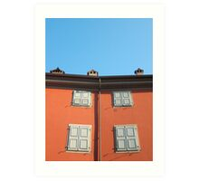 Red Building in Udine Art Print