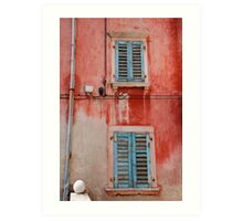 Tatty Blue Shutters, Slovenia Art Print