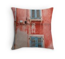Tatty Blue Shutters, Slovenia Throw Pillow
