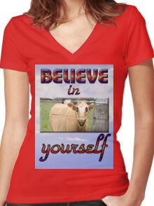 BELIEVE IN YOURSELF Women's Fitted V-Neck T-Shirt