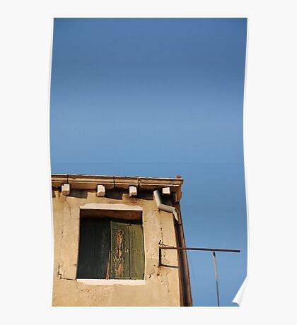 Window in Venice Against Blue Sky Poster