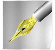 gold pen nib Poster