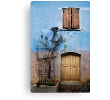 Window and Door in Blue Wall, Topolo Canvas Print