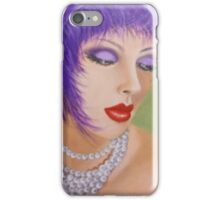 LADY WITH PURPLE FEATHERS AND PEARLS iPhone Case/Skin