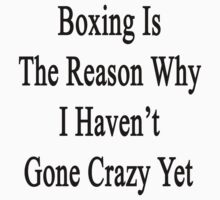 Boxing Is The Reason Why I Haven't Gone Crazy Yet  by supernova23