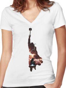 Hammer of Thunder and Lightning Women's Fitted V-Neck T-Shirt
