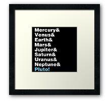 Planets Helvetica Framed Print