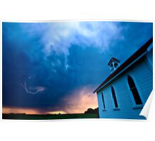Storm Clouds over Saskatchewan country church Poster