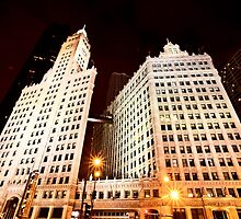 Chicago Downtown City  Night Photography Wrigley Square by pictureguy