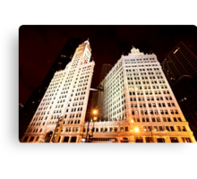 Chicago Downtown City  Night Photography Wrigley Square Canvas Print