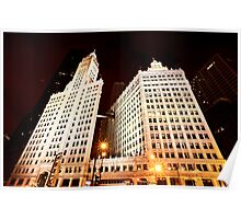 Chicago Downtown City  Night Photography Wrigley Square Poster