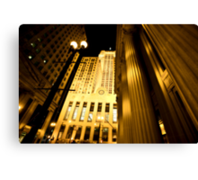 Chicago Downtown City  Night Photography Canvas Print