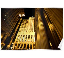 Chicago Downtown City  Night Photography Poster