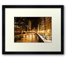 Chicago Downtown City  Night Photography Framed Print