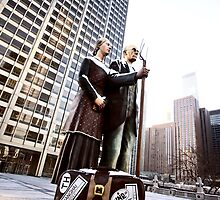 Chicago Downtown City  Night Photography Wrigley Square American Gothic by pictureguy