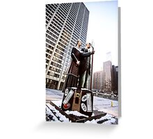 Chicago Downtown City  Night Photography Wrigley Square American Gothic Greeting Card