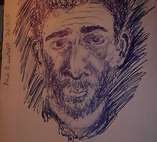 Self-portrait -(250313)- Blue biro pen on back of A5 envelope by paulramnora