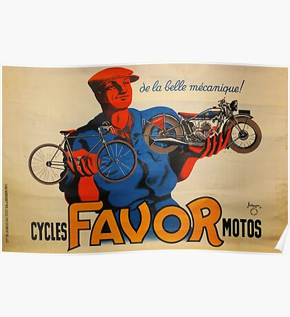 French Vintage Motorcycle Poster Poster