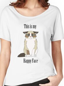 Happy Face - Grumpy Cat Women's Relaxed Fit T-Shirt