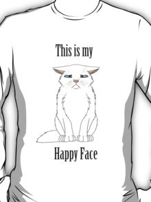 Happy Face - White Cat T-Shirt