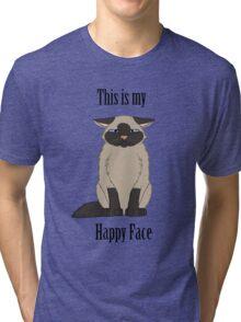 Happy Face - Siamese Cat Tri-blend T-Shirt