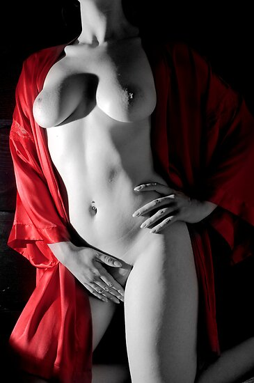 Female sensual nude art black white red lingerie - Carezza Rossa by tree3art