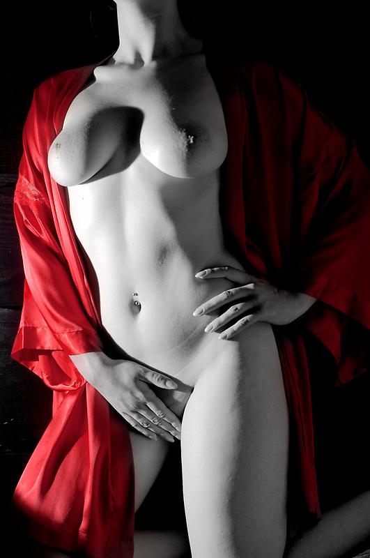 Female sensual nude art black white red lingerie - Carezza Rossa by tree3art