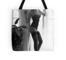 Elegant lady in ingerie wearing hat and holding a sigarette  Tote Bag