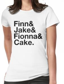 Finn & Jake & Fionna & Cake (black type) Womens Fitted T-Shirt