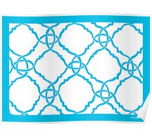 classic modern lattice bright sky blue Poster