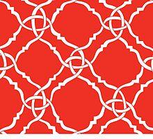 classic modern lattice vibrant orange by aygeartist