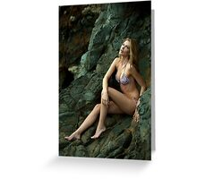 Bikini model posing in front of rocks in Palos Verdes, CA Greeting Card