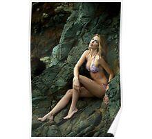 Bikini model posing in front of rocks in Palos Verdes, CA Poster