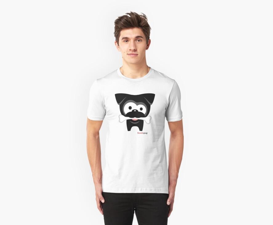 Black Pug Bone! White Tees and Stickers by boodapug