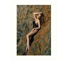 Swimsuit model posing in front of rocks in Palos Verdes, CA Art Print