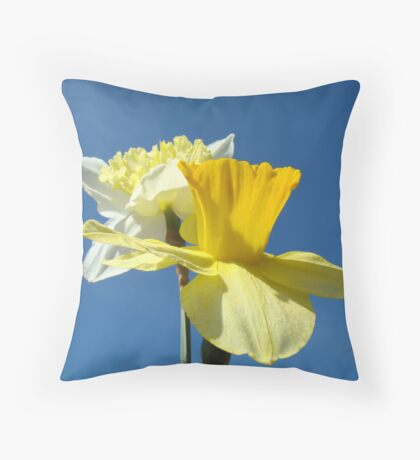 Spring Blue Sky art prints Yellow Daffodils Flowers Throw Pillow