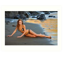 Sexy model posing at golden sunset at passific coast of California 2 Art Print