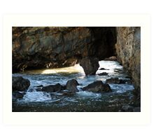 Mountains and Volcano crater at Secret Cove of Palos Verdes, CA Art Print