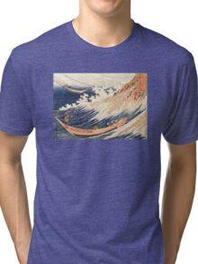 'A Wild Sea At Choshi' by Katsushika Hokusai (Reproduction) Tri-blend T-Shirt