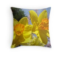 Orange Yellow Daffodil Flowers art prints Spring Throw Pillow