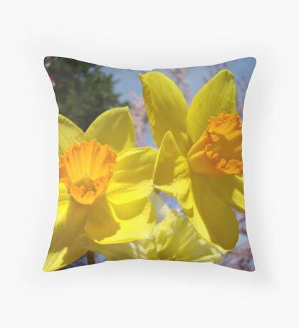 Orange Yellow Daffodil Flowers art prints Spring Throw Pillow