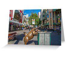 Rundle Mall - Looking down the Rundle Mall past the Pigs Greeting Card