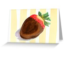 Summer stripes and a chocolate strawberry Greeting Card