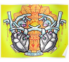 two hearts, psychedelic whovian tattoo art Poster